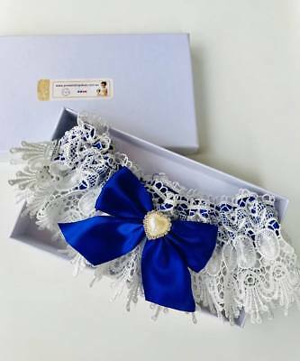 Luxury Royal Blue Garter 2 with Heart Detail - wedding something blue Australia