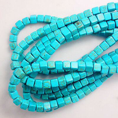 Wholesale Blue Turquoise Gemstone Spacer Loose Beads Charm Findings 15'' ZK09