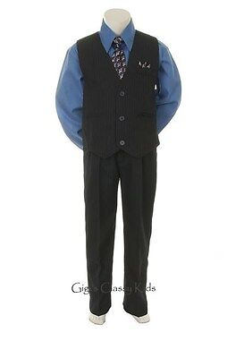 New Baby Toddler Youth Boys Blue & Black Vest Suit Outfit 4 Piece Wedding Easter
