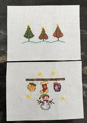 2 X Handmade Completed Cross Stitch Christmas Card Toppers