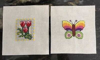 2 X Handmade Completed Cross Stitch Greetings Birthday Card Toppers