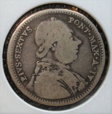1777 IV Silver 2 Guilio Papal States Coin - - Catalog Number KM# 1034