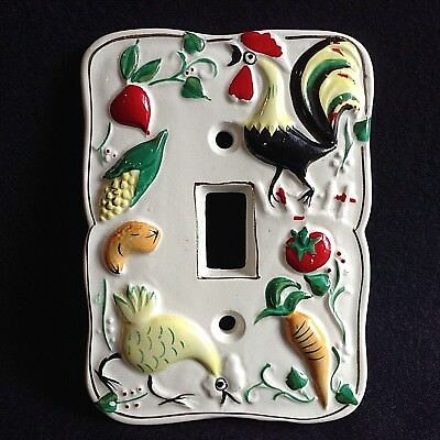 Vintage RARE pottery KITCHEN light switch cover hand painted Japan 50s 60s retro