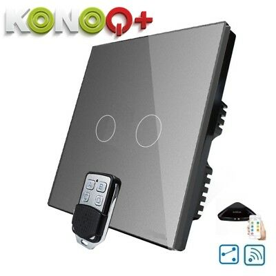 KONOQ+ Luxury Glass Panel Touch LED Light Switch:WIFI ON/OFF, Grey, 2Gang/2Way