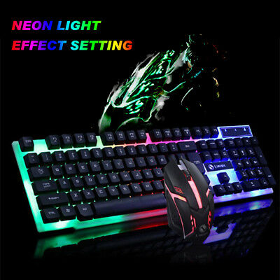 Gaming Keyboard Mouse Combo Rainbow Light Backlit UK Ergonomic Keypad+Mouse