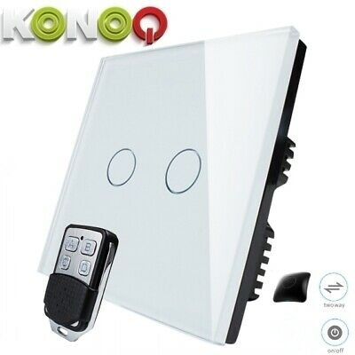 KONOQ+ Luxury Glass Panel Touch LED Light Switch:WIFI ON/OFF, White, 2Gang/2Way