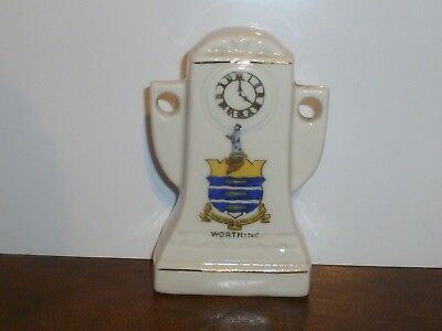 Made in Saxony Crested China Art Deco style Mantle Clock. Crest of Worthing