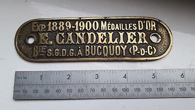 Collectable brass plaque Candelier Bucquoy - unknown origin - WW1 era?
