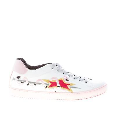ISHIKAWA women shoes White leather Down 1495 sneaker pink snake embroidery 042f97562a9