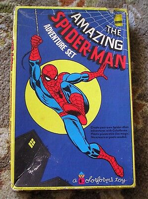 1974 MARVEL The Amazing Spider-Man Colorforms Adventure Set in Box w/ Pamphlet
