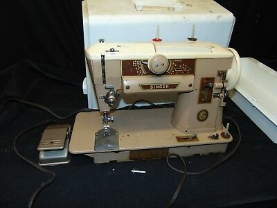 vintage Singer Sewing machine #401A light brown color w/ case foot pedal USA