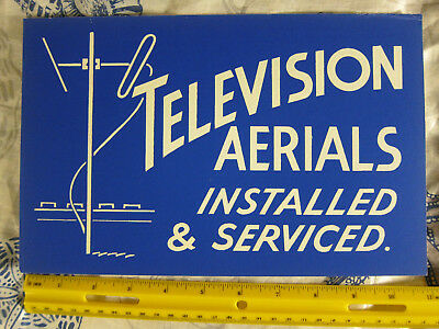 1950's Original Graphic Store Sign Card Television Aerials Installed & Serviced