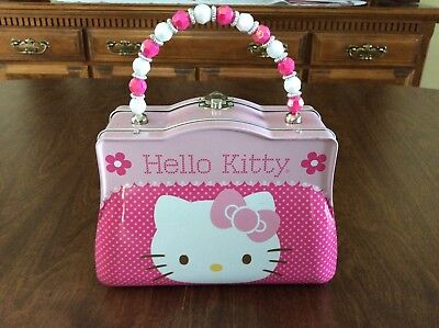 Collectible Hello Kitty Metal Purse /Trinket Box With Pink White Beaded Handle