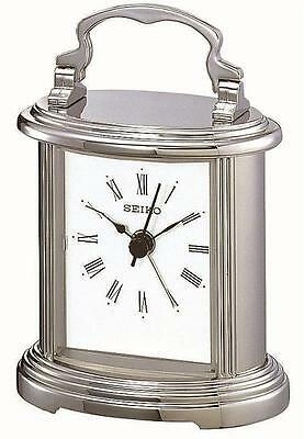 Small Silver Plated Seiko Classic Carriage Clock With Beep Alarm QHE109S RRP £45