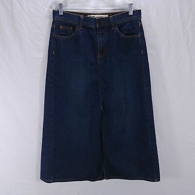 Jean Skirt Size 10 Denim Blue Long With Front Slit Gap Jeans