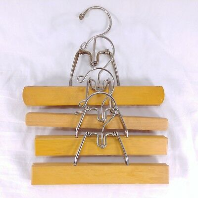 Hangers Wood Pants Skirt Clamp Blond Color Lot of 4