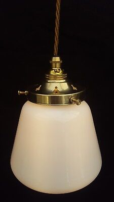 Milk White Glass Hanging Pendant Lamp/Light 1930's with Brass Gallery