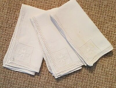3 Vintage Napkins - Hand Embroidered