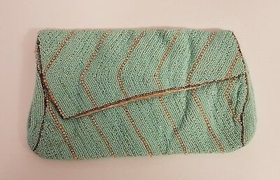 Vintage 1930's Art Deco Pearl Glass Blue and Gold Beaded Clutch Bag
