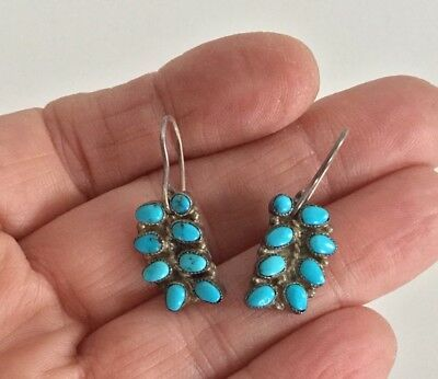 Pair Of Antique Hand Made Zuni Turquoise & Sterling Wire Drop Earrings