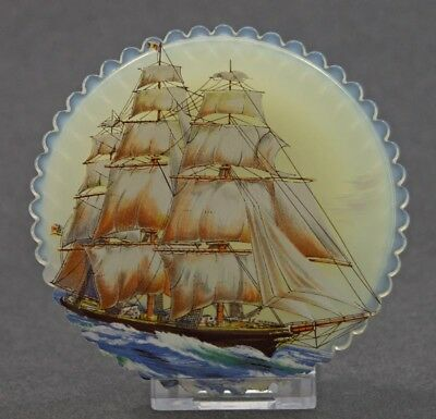 VINTAGE HAND PAINTED SCHOONER SHIP FENTON GLASS CUP PLATE CIRCA 1980's