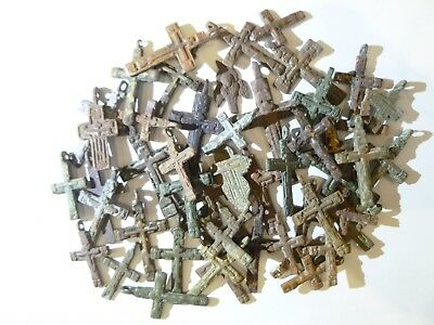 Metal detector finds.Mix lot  ancient crosses (The age of 17-18)50 pieces. N78