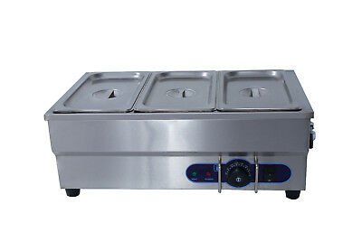New 3X 1/3' Pan Stainless Steel New Electic Bain Marie Trays+ Lids Wty