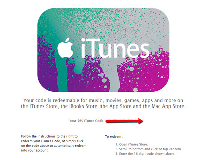 itunes gift card 69$ - US only