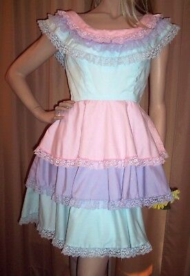 Handmade Square Dance Dress 12/14 L/XL Vintage Baby Pink Purple Blue Rockabilly