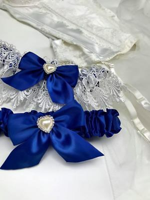 Luxury Royal Blue Garter Set with Heart Detail - wedding something blue