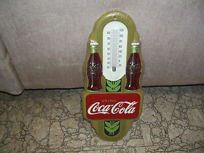 """16"""" Never Been Used Coca-Cola Thermometer With Two Bottles-Cover Still On It!!!"""