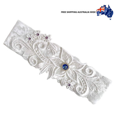 Lace Garter (Ref:#2) Diamantes and Floral - Bridal wedding toss Australia white