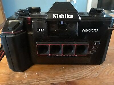 Nishika N8000 Quadrascopic Stereo 3D 35mm Camera ~ for parts or repair