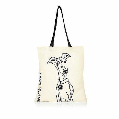 ~NEW Whippet Greyhound IG Italian Beige River Island Shopper Tote Bag - ADORABLE