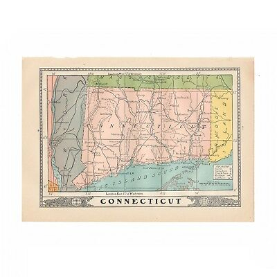 "Vintage map of the Connecticut from 1902 disbound book ""University Encyclopedia"""