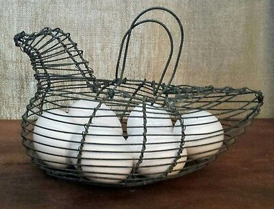 Vintage Antique Primitive Rustic Wire Chicken Egg Basket Farmhouse Handcrafted