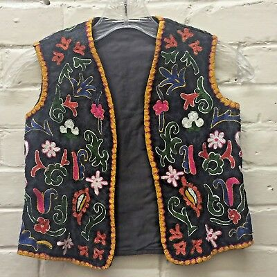 Gorgeous Vintage M Unisex Child Fully Embroidered Vest Colorful Ethnic lined