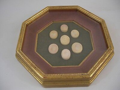2of2 Octagon Gold Gilt Frame Plaster Intaglio Medallions French Grand Tour Style