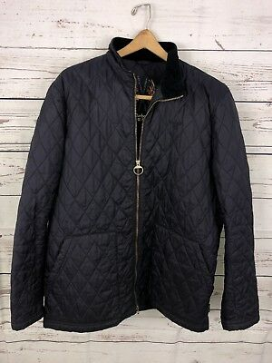 Barbour Men's Lakeside Quilted Casual Jacket Navy Sz XL Small Hole Full Zip