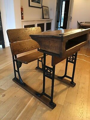 Christ Hospital Antique School Desk - Elm and Iron