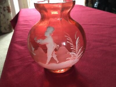 Red Glass Mary Gregory Type Round Vase.