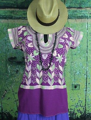 Multi-Color on Purple Corn Motif hand embroidery Huipi Blouse Mexico Hippie Boho