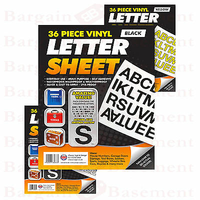 36pc Self Adhesive Letter Or Numbers Sheets Colours Sign Making Stickers Sticky