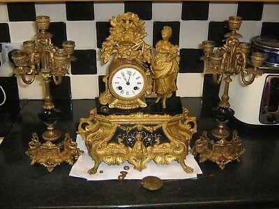 Antique French Gilt Mantel Clock Garniture. for restoration