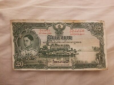 Thailand 1935-1938 Issue  total 4 notes  3 @ 20 Baht and 1 @ 10 Bhat.  F/VF rare