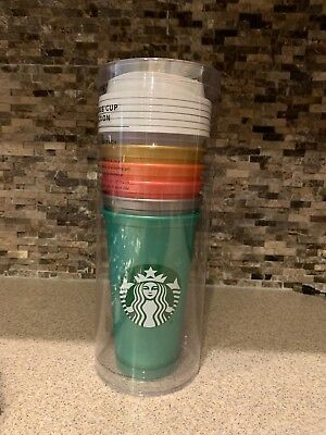 Starbucks 2018 Limited Edition Reusable Cup Collection Shimmer Colors Set Of 6