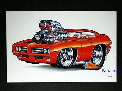 "Muscle Machines Print Art Poster 1969 Pontiac GTO 69 Judge Rohan Day 11"" by 17"""