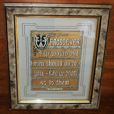 ANTIQUE framed HAND PAINTED GOLD BIBLE MISSAL PAGE verse MATTHEW 7:12 gorgeous