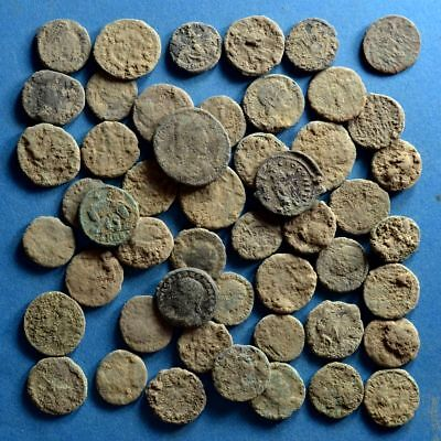 Lot of 50 Uncleaned Roman Bronze Coins
