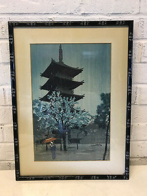 Vtg Antique Shiro Kasamatsu Woodblock Print Pagoda Evening Rain at Dusk Yanaka